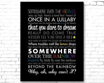 "WIZARD of OZ ""Somewhere Over the Rainbow"" | PRINTABLE Song Lyrics Artwork | Black & Color"