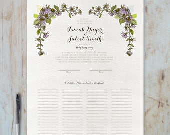 Wedding Certificate - Daisy - Fits Standard Frame Size