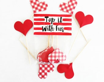 red gingham, gingham toppers, gingham, picnic, rodeo, red party, valentines, red wedding, red shower, topper, cupcake topper, red, shower