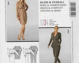 Burda 7442 Plunge v-neck dress gathered at shoulders and waist with hip pockets or jumpsuit stretch Size 8-10-12-14-16-18 Uncut