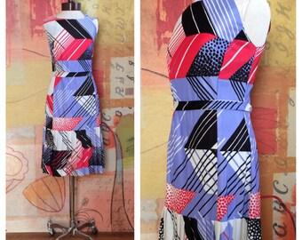 60s Abstract Dress Medium • Vintage 60s Dress • Graphic Print Dress • Dropskirt Dress • Fourth of July • Medium 60s Midi Dress • Pop Art