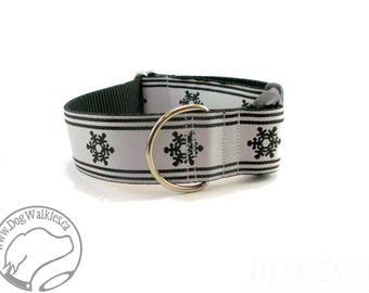 "Winter Wonderland White and Black - 1.5"" (38mm) Wide - Choice of collar style and size - Martingale Dog Collars or Quick Release Buckle"
