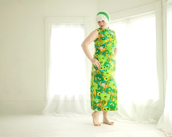 Vintage bright green floral dress, sleeveless empire waist maxi midi, L XL plus size, 1960s mod 1970s