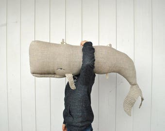 Long linen whale pillow or hanging decor on the wall, big stuffed whale decor