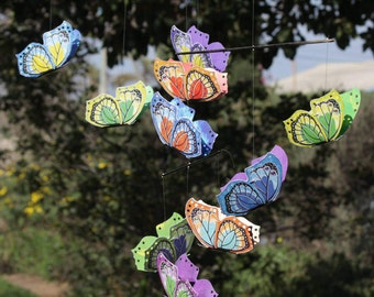 Colourful Butterfly Mobile For Baby Crib, Nursery, Bedroom Or Livingroom. Made Of Bamboo & Paper.