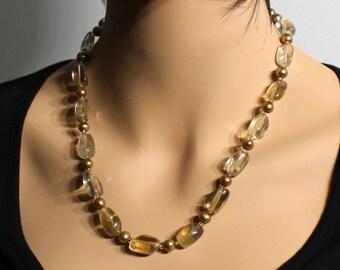 Golden Citrine Necklace, Golden Freshwater Pearls, artisan boho statement necklace, yellow gemstone, gift for her, November birthstone, 3986