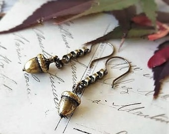 ACORN Earrings, Dangle Drop Earrings, Acorn Fall earrings, Fall jewelry, Upcycled Jewelry by Donna Sutor of veryDonna