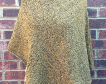 Tweed Wool  Poncho - Womans  Tweed Knitted Poncho - Tweed  Cape - Oversized  Sweater -  Tweed Lambswool Wrap -Gift for Her