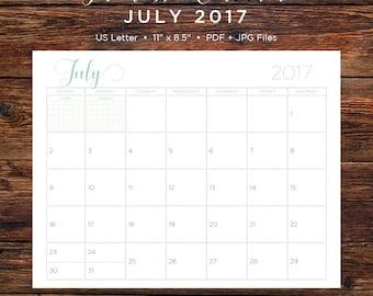 July 2017 Calendar | July 2017 | July | Calendar | Printable Calendar | Printable | Monthly Calendar | 2017 | Instant Download