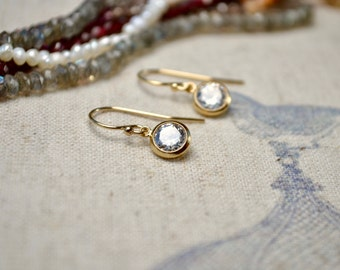Gold CZ Earrings, Tiny Gold Earrings, Gold Filled Jewelry, Petite Simple Gold Earrings, Dainty Drop Earrings, Best Sellers, Bridal Earrings