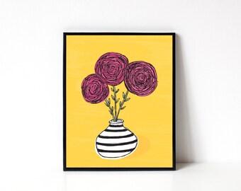 Ranunculus 8x10 Print - Flower Illustration - Floral Art Print - Flower Wall Art - Wall Art Print - Office Art Print - Kitchen Wall Art