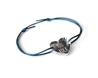 "Heart bracelet with message ""You rock"" - Valentine's bangle - wedding jewelry - 25 colors - adjustable bracelet - lasercut acrylic mirror"