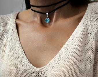 Bismuth Crystal Choker Necklace - Bismuth Crystal Jewelry - Custom Made - Blue Necklace - Copper Pendant - Boho Choker - Leather Wrap Choker