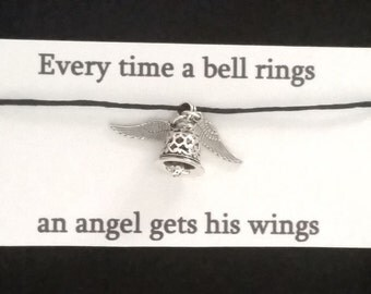 IT'S A WONDERFUL LIFE bracelet on waxed cotton cord or Silver Plated Key Ring or Silver Plated Necklace