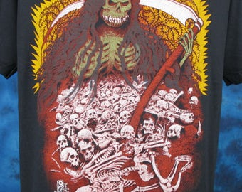 Medium/Large*** Vintage 80s GRIM REAPER Cartoon Paper Thin T-Shirt satan devil death skeleton punk biker metal skull tattoo zombie rock goth