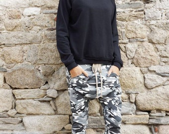 NEW Fall Loose Casual Drop Crotch Harem Pants / Extravagant Grey Camo Pants/ Side zipper pockets Camouflage pants by AAKASHA A05313