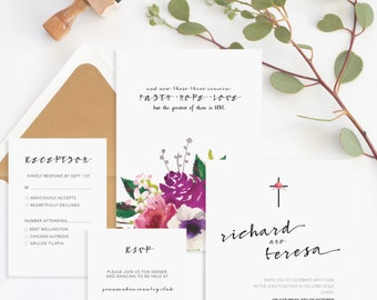 Christian Wedding Invitation • Christian Marriage • Religious Wedding Invitation • Faith Hope Love Bible Verse