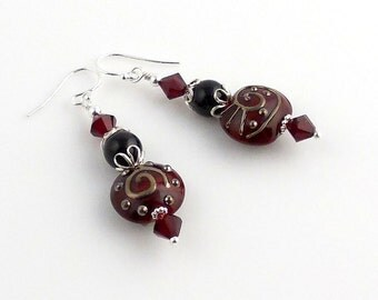 Red Lampwork Beads and Sterling Silver Crystal Beaded Earrings, Lampwork Earrings, Lampwork Jewelry, Gifts, Holiday Jewelry, Valentine Day