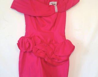 1980s hot pink dress vintage prom dress hot pink party dress vintage 1980s magenta dress medium off the shoulder dress new year's eve