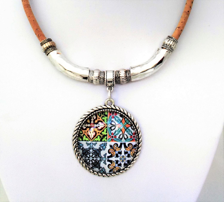Cork Jewelry: Portuguese Tiles Cork Necklace Azulejos Statement By Bijoucci