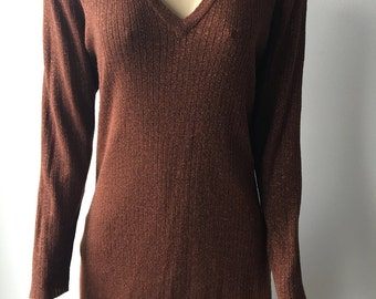 Metallic thread sweater bronze wool blend lurex foil thread long pullover V neck made in France chest 38""
