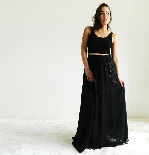 Large Crystal Chiffon Sparkle Maxi Skirt with Sash / Black w/ Gold