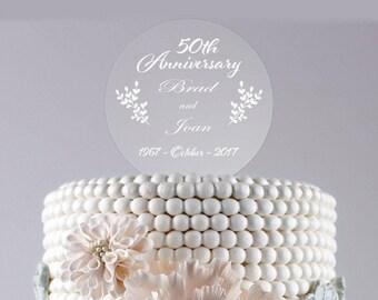 Wedding Cake Topper /50th Anniversary/Personalized/Custom Cake Topper/Acrylic/Round/Display/Keepsake