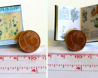 1030# Miniature book Herbs and Plants - Doll house miniature in scale 1/12