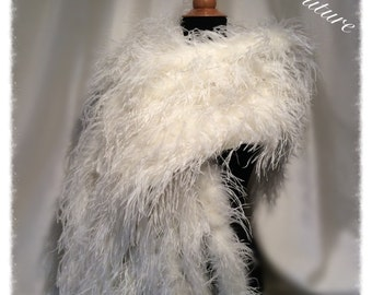 Ostrich Feather Ivory stole wrap with 10 Mink Style Tails. The Luxury Collection.