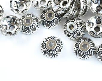 Antique silver Floral End Caps, 10 mm - 40 pieces (FS014)
