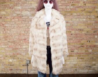 heartbreak hotel faux fur coat / white faux fur coat / mid length coat / oversized / 70s faux fur / penny lane / bohemian / boho winter coat
