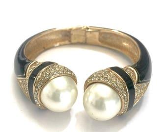 Ciner Black Enamel Clamper Bangle Bracelet, Hinged Bangle, Large Faux Pearls, Pave Ice Crystal, Vintage Elegant Statement Bangle, Signed