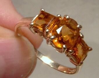 10K Golden Citrene 3 Row Ring 1980s Size 6-3/4 10 K Citrine