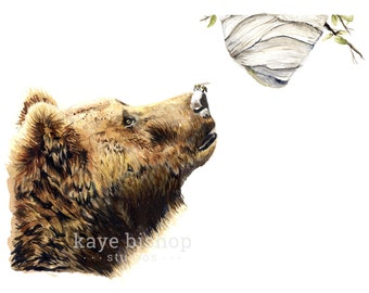 Bear Watercolor Painting, Animal Art, Bear Painting, Bear Watercolor, Bear Art, Nursery Art, Bee Art, Bear Decor, Bear Print, Beehive Art
