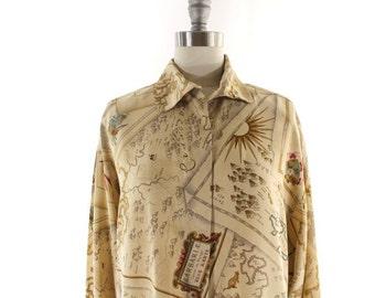 Ellen Tracy silk blouse • map print blouse • map shirt • 1980s silk button down M