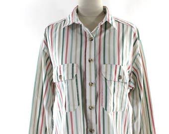 1980s striped button down • preppy blouse • slouchy button down shirt • peach & green striped shirt M