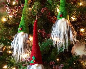 Tomte Nisse Gnome Scandinavian Christmas Hanging Ornaments Set of 3!