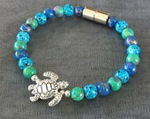 Colorful Magnetic Bracelet with Sea Turtle ~