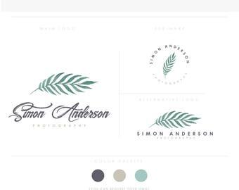 Green Leaf artistic brush rose initials businesscards  simple modern feminine branding- logo Identity artist makeup wedding photographer