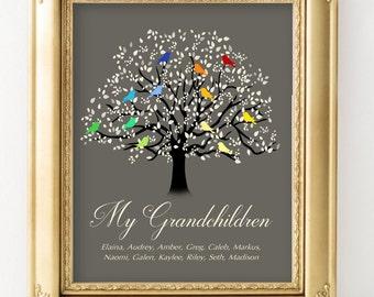 Grandchildren Tree, Family Tree Print with Grandkids Names, Family Tree Wall Art,  Christmas Gift for Grandma, Tree with Birds CUSTOMIZED
