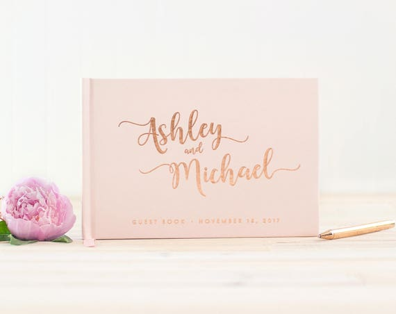 Wedding Guest Book landscape guestbook horizontal wedding album Rose Gold Foil hardcover wedding guest book Personalized wedding journal