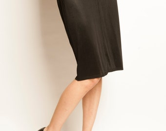 Azzedine ALAIA 1980's stretched knee length black pencil skirt