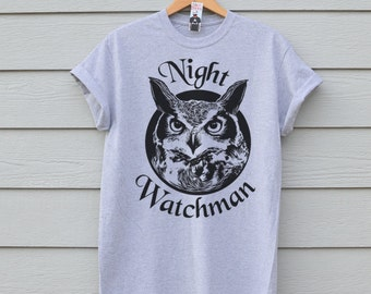 Sale - Owl Tshirt, Premium Grey Owl Tee In Large Only
