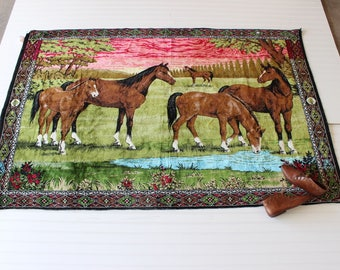 SALE Vintage Turkish Horse Tapestry XL Wall Hanging Horses Turkish Handmade Tapestry Western Boho Home Decor