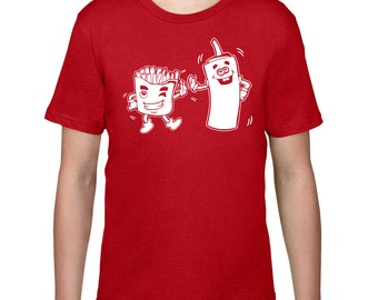 Kids Clothing, Kids Shirt, Funny T Shirt, French Fries & Ketchup Tshirt, Fry Tee, Ketchup T Shirt, Youth Childrens Clothes, Ringspun Cotton