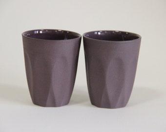 purple sake set / sake cups / espresso cup set / shot glasses / faceted espresso cups