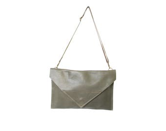 Moss green leather envelope clutch