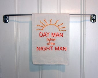 Made to Order:  Its always sunny in Philadelphia Kitchen Towel - Day Man Fighter of the Night man -  Master of Karate and Friendship