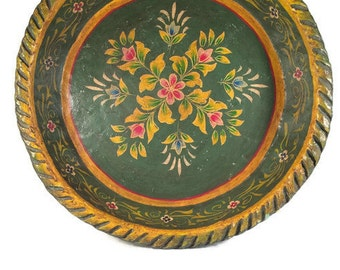 Vintage Painted Paper Mache Bowl - Folk Art - Decorative Fruit Bowl