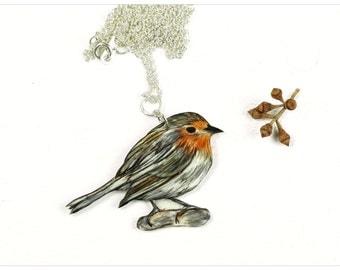 redbreast chain, robin necklace, red robin pendant, robin pendant, robin branch chain, hand-drawn redbreast, bird necklace, bird-jewellery